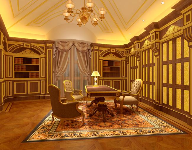 别墅设计师书房效果图作品欣赏