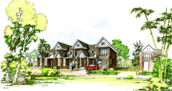 手绘别墅建筑外观设计图