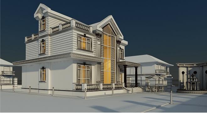 别墅建筑空间设计概念效果图