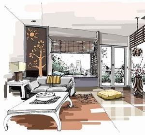室内手绘效果图马克笔别墅